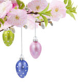 Colorful hanging easter eggs Stock Image