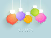 Colorful hanging lamps for Happy Deepawali. Colorful hanging lamps with floral design decoration, Elegant festive background, Can be used as Greeting Card or stock illustration