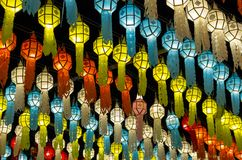 Colorful hanging lanterns lighting on night sky in loy krathong festival. At northern of thailand royalty free stock photos
