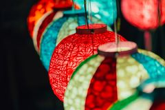 Colorful Hanging Paper Lamp. In Festival colorful night light from lantern Stock Photos