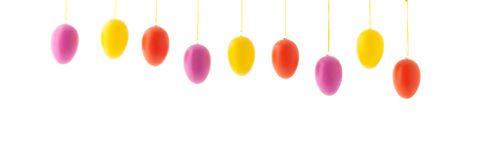 Colorful hanging row easter eggs Stock Image