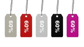 Colorful hanging sales tags Royalty Free Stock Photography