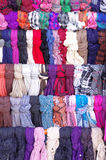 Colorful hanging scarves closeup Royalty Free Stock Photography