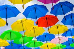 Colorful hanging umbrellas Royalty Free Stock Photography