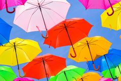 Colorful hanging umbrellas Stock Photo