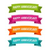 Colorful Happy Anniversary ribbons. Eps10 Vector. Colorful Happy Anniversary ribbons. Eps10 Vector illustration royalty free illustration
