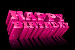 Colorful Happy Birthday. Vector illustration of glossy happy birthday text with sparkle Stock Photo