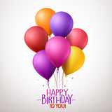 Colorful Happy Birthday Balloons Flying for Party and Celebrations. 3d Realistic Colorful Happy Birthday Balloons Flying for Party and Celebrations With Space Royalty Free Stock Photography