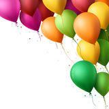 Colorful Happy Birthday Balloons Flying for Party and Celebrations. 3d Realistic Colorful Happy Birthday Balloons Flying for Party and Celebrations With Space Royalty Free Stock Image