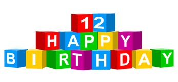Colorful 12 Happy Birthday banner. Cube concept isolated on white background stock illustration