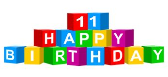 Colorful 11 Happy Birthday banner. Cube concept isolated on white background royalty free illustration