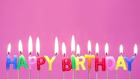 Colorful Happy birthday candles stock footage