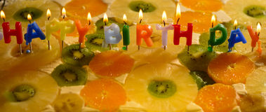 Colorful happy birthday candles Stock Image