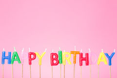 Colorful  Happy birthday candles Stock Photos