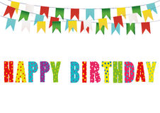 Colorful happy birthday candles. Rainbow garland of flags. Letter Royalty Free Stock Image