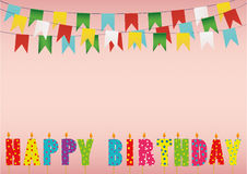 Colorful happy birthday candles. Rainbow garland of flags. Letter Royalty Free Stock Photo