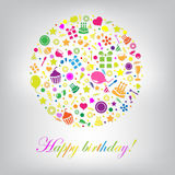 Colorful Happy Birthday Card Royalty Free Stock Photography
