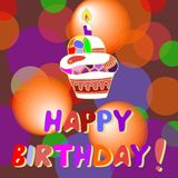 Colorful Happy Birthday card with cupcake. Stock Images