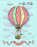 Colorful happy birthday card with hot air balloon Stock Photography