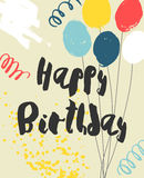Colorful Happy Birthday Card template. Playful handwritten black script, bright balloons, confetti and splashes on yellow background. Vector illustration. Easy Stock Photo