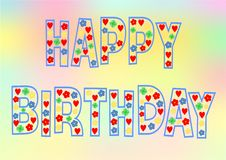 Colorful Happy Birthday lettering Stock Photography