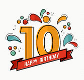 Colorful happy birthday number 10 flat line design Stock Images