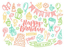 Colorful happy birthday party lettering and doodle set Stock Image