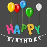 Colorful happy birthday party stitched greeting card Royalty Free Stock Images
