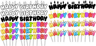 Colorful Happy Birthday Text Candles On Sticks Set 2 Royalty Free Stock Photography