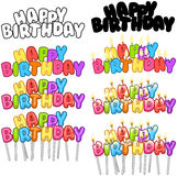 Colorful Happy Birthday Text Candles On Sticks Set 3 Royalty Free Stock Photography
