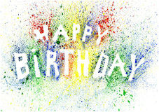 Colorful happy birthday text made of splashes Royalty Free Stock Images