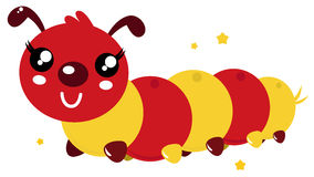 Colorful happy cartoon caterpillar. Red an orange caterpillar. Vector cartoon illustration Royalty Free Stock Photography