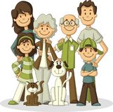 Colorful happy cartoon People. Big family Royalty Free Stock Image