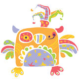 Colorful happy cute little owl design in kids drawing style vector illustration