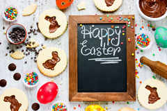 Colorful Happy Easter baking background Royalty Free Stock Photography