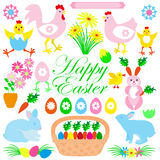 Colorful Happy Easter collection of icons with rabbit, bunny, egg Royalty Free Stock Photography