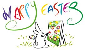 Colorful Happy Easter composition. Royalty Free Stock Photos