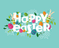 Colorful Happy Easter composition. Colorful Happy Easter greeting card with flowers eggs and rabbit elements composition. EPS10 vector file organized in layers