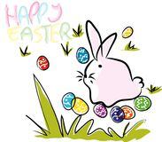 Colorful Happy Easter  and eggs greeting card composition. Stock Photos
