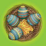 Colorful happy easter eggs set in nest, vector illustration. Stock Photo