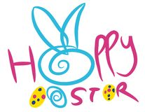 Colorful Happy Easter greeting card composition. Stock Images