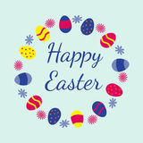 Colorful Happy Easter greeting card. With eggs and flowers. Vector illustration Stock Photo