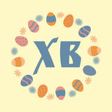 Colorful Happy Easter greeting card. With eggs and flowers. Vector illustration Stock Photos