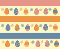 Colorful Happy Easter greeting card. With eggs and flowers. Vector illustration Royalty Free Stock Image