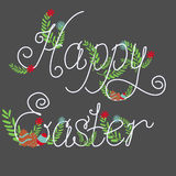 Colorful Happy Easter greeting card. With eggs and flowers. Vector illustration Royalty Free Stock Images