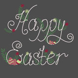 Colorful Happy Easter greeting card. With eggs and flowers. Vector illustration Stock Image