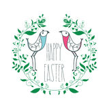 Colorful Happy Easter greeting card with floral decorative ornam. Festive greeting card Happy Easter with floral decorative elements, swirls, birds, quotes. С Royalty Free Stock Photo