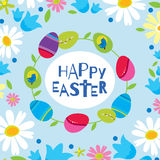 Colorful Happy Easter greeting card with flowers eggs elements composition. Cute Happy Easter greeting card.  Stock Photography
