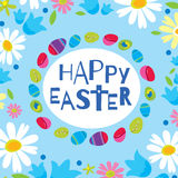 Colorful Happy Easter greeting card with flowers eggs elements composition. Cute Happy Easter greeting card.  Royalty Free Stock Photo