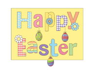 Colorful Happy Easter greeting card with flowers eggs and fancy patterned font. For cards, banners, etc Royalty Free Stock Images